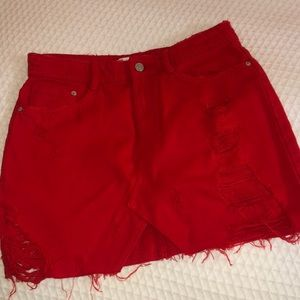 Zara size small red denim skirt